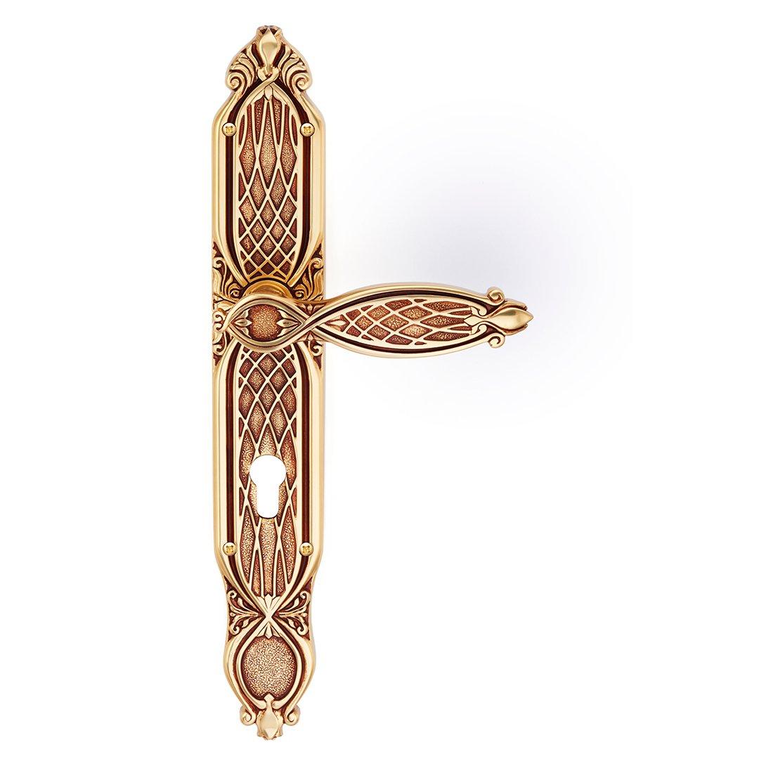 Maniglia su placca in oro francese Ramses Classique