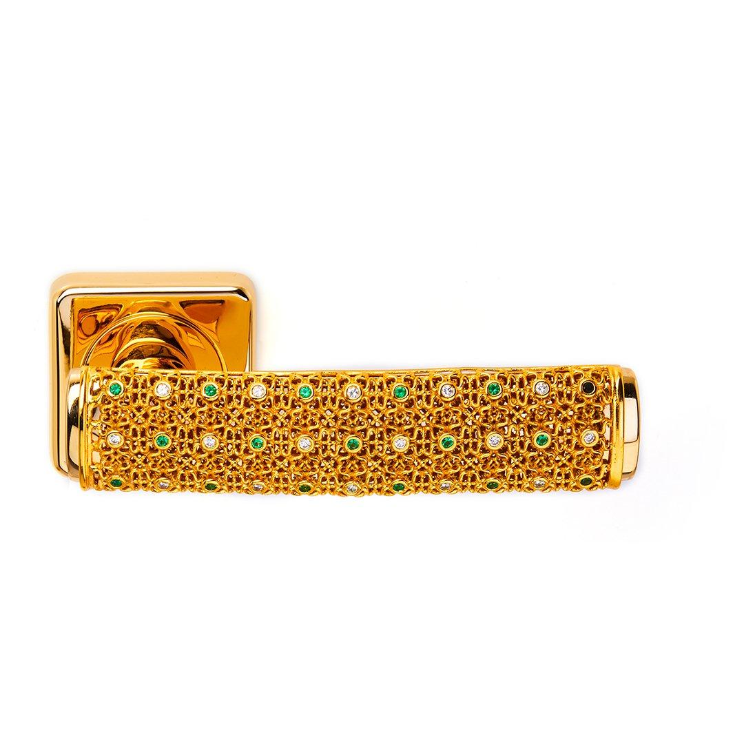 Maniglia su rosetta in oro 24 kt diamonds emerald Dream 2 Jewellery