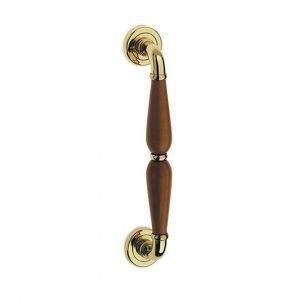 Maniglione in ottone lucido verniciato e legno Alfa Easy