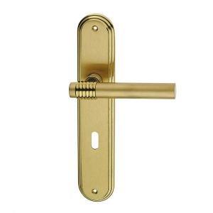 Handle on plate satin polish brass mistral fashion